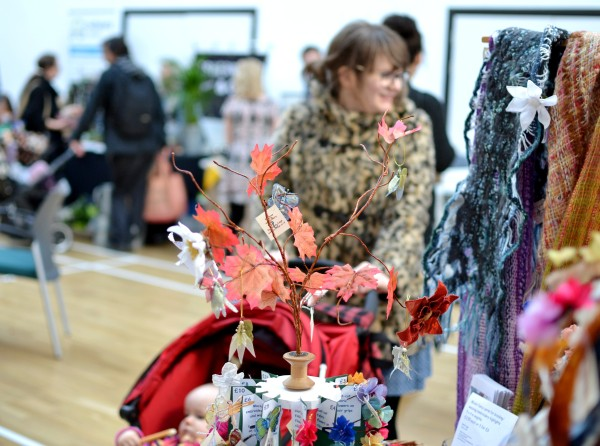 Visitors to the market viewed from the Sarah Cage Textile Designs stall