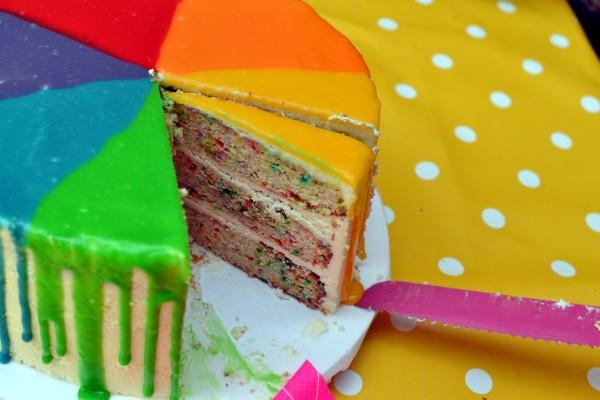 Multicoloured, multilayered birthday cake