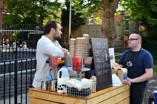 A quiet chat at theThere Goes Coffee stall