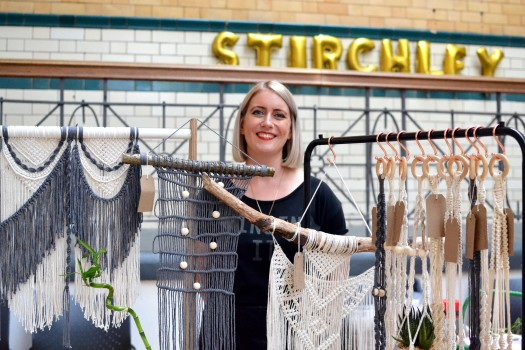 Amy with her macramé stall