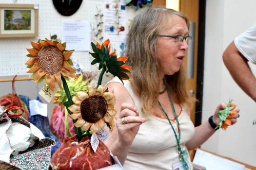 Sarah Cage with a range of textile crafts