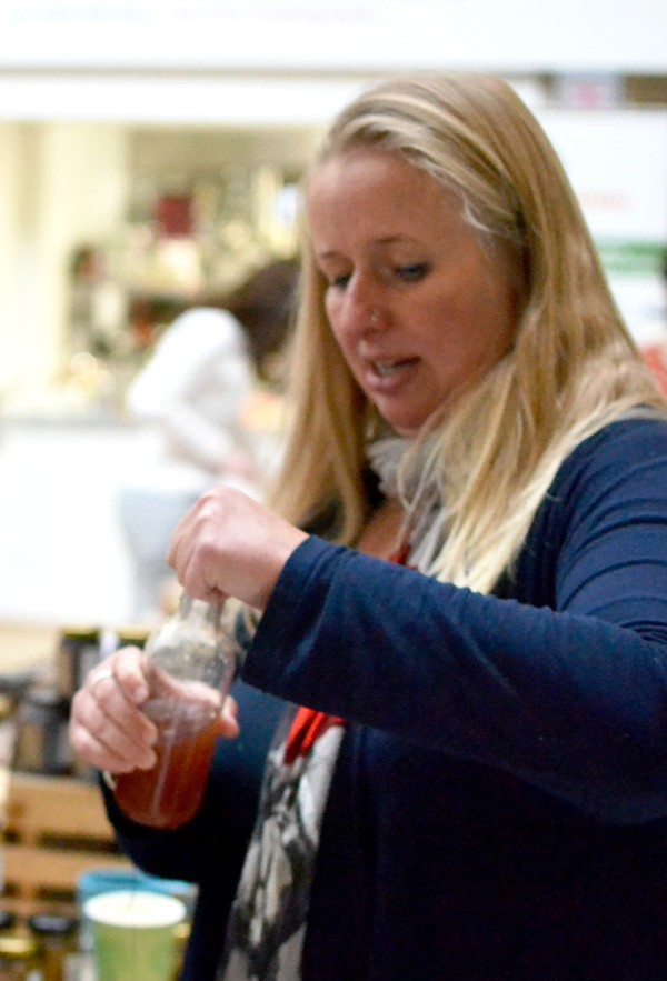 Mixing drinks on the Cuffufle Preserves stall