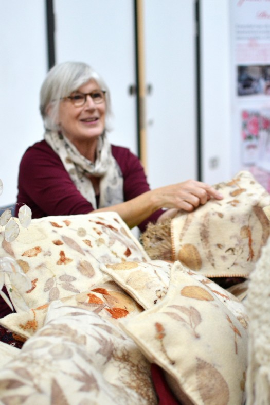 Lucy of Pincushion UNltd with organic dyed wool coverings