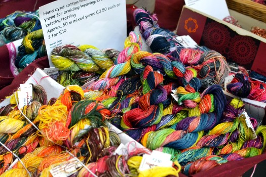 Colourful yarn from Sarah Cage Textiles