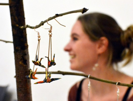 Elise of Windy and Wild with origami earrings