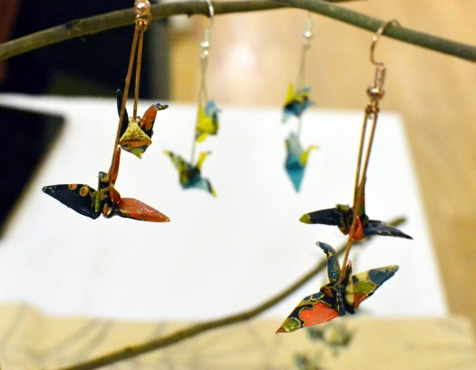 Origami bird-shaped earrings
