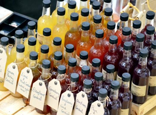 Bottles arranged by colour