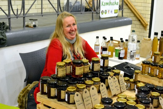 Rachel on the Cuffufle Preserves stall