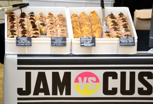 A choice of 4 doughnut flavours from Jam vs Custard