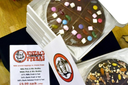 Chocolate pizzas! On sale from Kneals Chocolate
