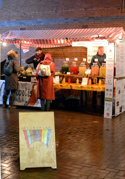 The outside market stall with Vegetropolis and the Happy Gut Hut