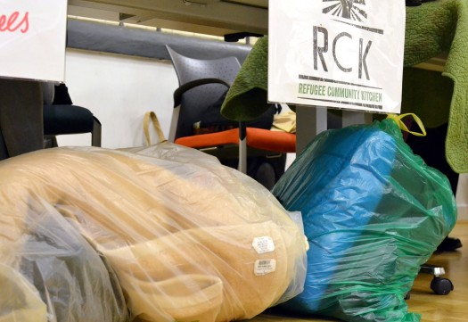 Bags of clothes and bedding