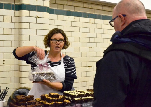 Mrs Mills Makes Cakes, serving at the December 2017 market