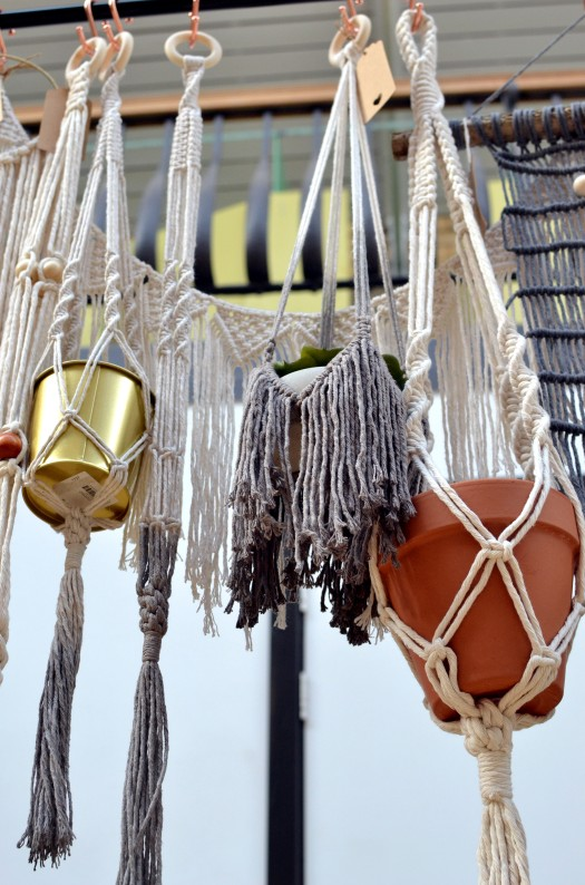 Various pots in macramé hangings