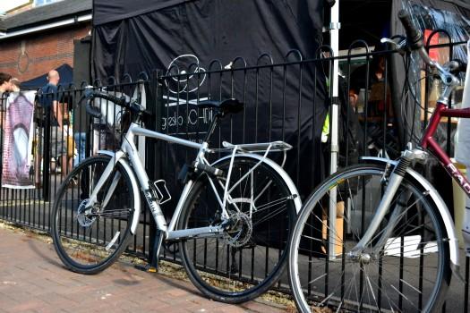 Bikes locked to the railings