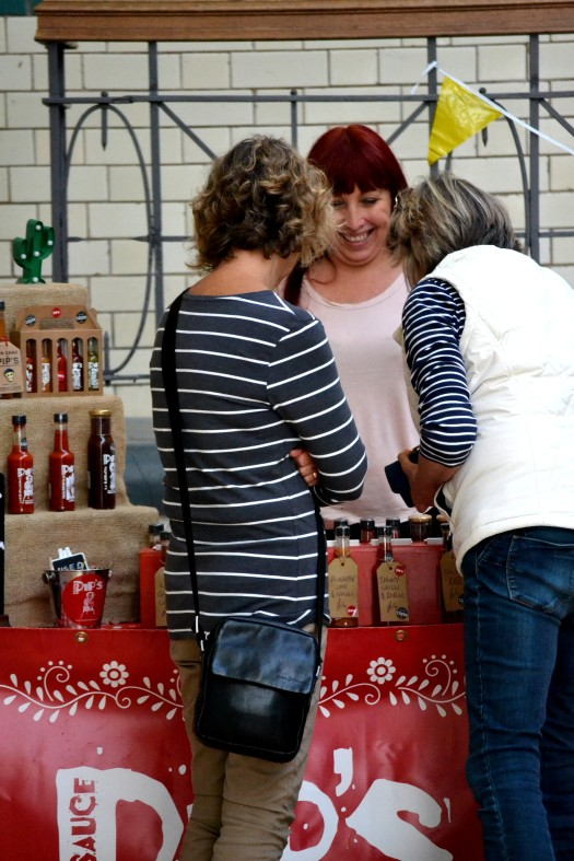Customers at the Pip's Hot Sauce stall