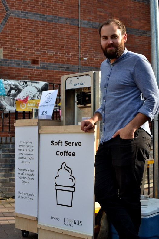 Dave of There Goes with soft serve coffee