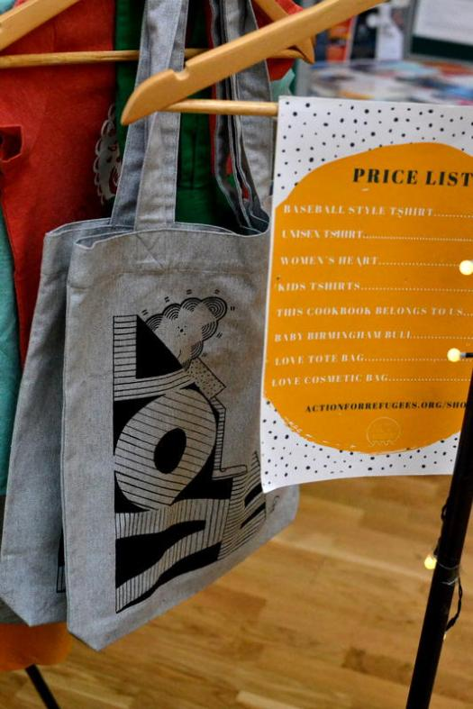 Tote bags for sale from Kings Heath Action for Refugees