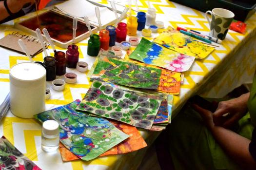 Marbling art in Stirchley Library