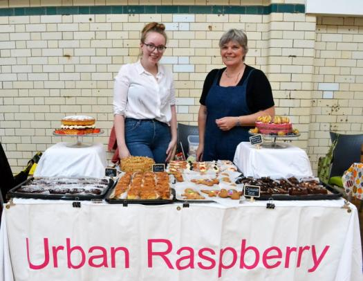 Fiona and Sue from Urban Raspberry selling cakes
